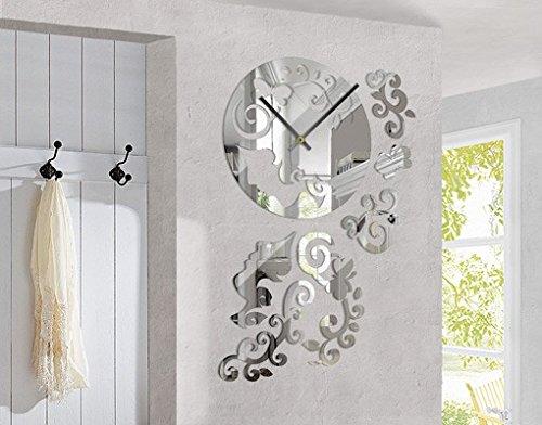 Design Wanduhr Beauty Spiegel Frau Ornamente Floral Muster Blume, Größe:ca. 40cm x 60cm