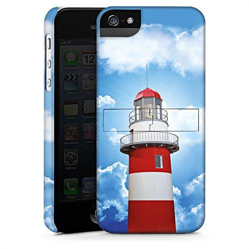 Apple iPhone 5s Housse Étui Protection Coque Phare Ciel Nuages CasStandup blanc