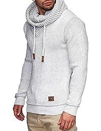 INDICODE Herren Keshawn Grobstrick Winter-Pullover Norweger Hoodie Strickpullover Schalkragen Slim Fit