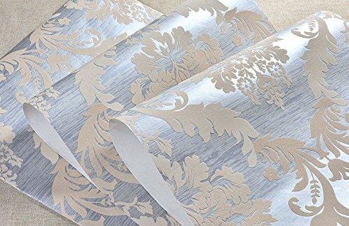 Modernes Extra dicker Vlies europäischen modernes minimalistisches hochwertigem Damaskus Tapete Wohnzimmer Wohnzimmer TV Hintergrund Tapete 0,53m (52,8cm) * 10Mio. (32,8') M = 5.3sqm (M³), Only the wallpaper, Light blue Q17505