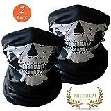 2x Premium Multifunktionstuch Totenkopf | Sturmmaske | Bandana | Schlauchtuch | Halstuch mit Skelettmasken für Motorrad Fahrrad Ski Paintball Gamer Karneval Kostüm Skull Maske