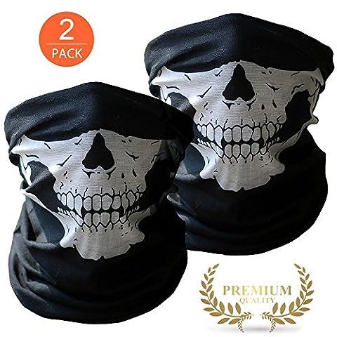 2x Premium Chiffon multifonction tête de mort | Cagoule | | Chiffon Tuyau | Bandana avec des masques pour vélo moto ski Paintball Gamer Costume de carnaval squelette masque