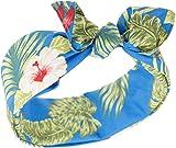 Küstenluder Damen Haarband Trinh Hibiskus Palmen Bandana (Mittelblau mit Hibiskusblüten)