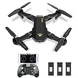 ToyPark XS809W Selfie Faltbare Kamera Drohne FPV WIFI Quadrocopter Live Übertragung APP steuerbar Hover 12 Minuten Flugzeit große Drone für alle Stufen-Piloten, plus Garantie inkl. Fernbedienung wie auf dem Bild (schwarz 3 Akkus)