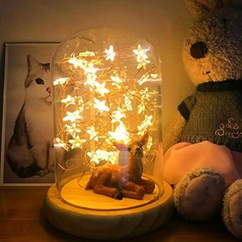 HKFV Light Lamp LED Feuer Baum Silber Blume Romantische Glasabdeckung Schlafzimmer Schreibtisch Nachtlicht Lampe USB-Feuer-Baum-silbernes Blumen-Stern-LED-Nachtlicht Lichtlampe (Mehrfarbig)