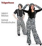 Zebra Hose Plüsch Trägerhose Zebrahose Plüschhose Unisex M