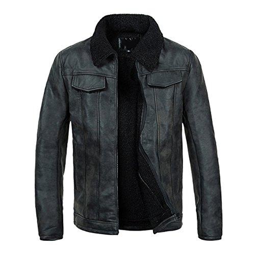 Lederjacke Herren Winter Motorradjacke Gefüttert Jacke Mit Fell Warme Winterjacke Schwarz Zipper Biker Style