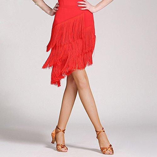 (Wanson Frauen Classic Latin Dance Kleid Büste Rock Quaste Rock Big Swing Rock Dance Show Kostüm,S)