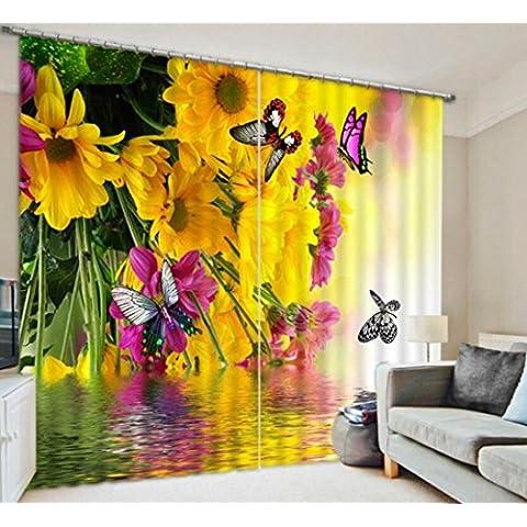 Daisy farfalla una calda tonalità di stoffa decorata tende camera da letto di lino finito 3D , wide 3.6x high 2.7