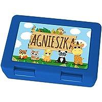 Preisvergleich für Brotdose mit Namen Agnieszka - Motiv Zoo, Lunchbox mit Namen, Frühstücksdose Kunststoff lebensmittelecht