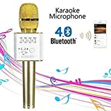 CGT Micgeek Q9 Bluetooth Microphone Speaker for iPhone with Carrying Case (Gold)