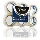 Ruban d'emballage claire Nayka (6 rouleaux) - Adhésif résistant pour le déménagement, l'emballage, les colis et les boîtes de stockage - Sceau étanche à l'air - UV & Résistant à l'humidité