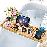 Unuber Bambus Badewannenablage ausziehbar mit Weinglas-Halterung und iPad-Buch-Ablage, 70-104 x 6,4 x 23,6 cm (B x H x T) - 7