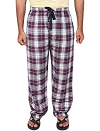Twist Men's Marron And White Checked Cotton Pyjama Sleepwear Night Wear With Contrast & Free Shipping