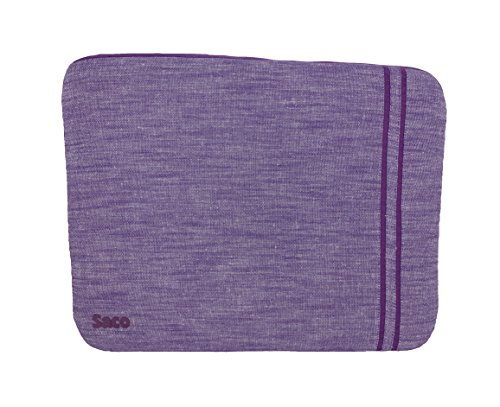 Saco Washable Fabric Laptop Notebook Ultrabook Sleeve Bag Zipper Case with accessories adapter pocket suitable for Dell Inspiron 5547 Notebook - 15.6 inch - Purple