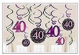 Dekoration zum 40.Geburtstag Swirl-Set 12 Stück Folienspiralen zum Aufhängen pink rosa glitter
