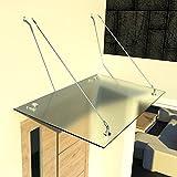 i-flair Glasvordach Vordach aus 13,14 mm starkem Verbundsicherheitsglas (VSG) mit Hochwertigen V2A Edelstahlbeschlägen Alle Groessen (Satiniert 200cm x 90cm mit 2 Haltestangen)