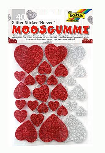 folia 23791 - Moosgummi Glitter Sticker, Herzen, sortiert in silber und rot, verschiedene Größen, 40 Stück - Ideal zum Verzieren und Dekorieren von Grußkarten usw. -