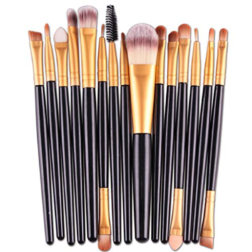 VJGOAL Damen 15 Teile/Sätze Lidschatten Foundation Augenbraue Lippenpinsel Make-Up Pinsel Werkzeug Mehrzweck (Schwarz, 15 PC)