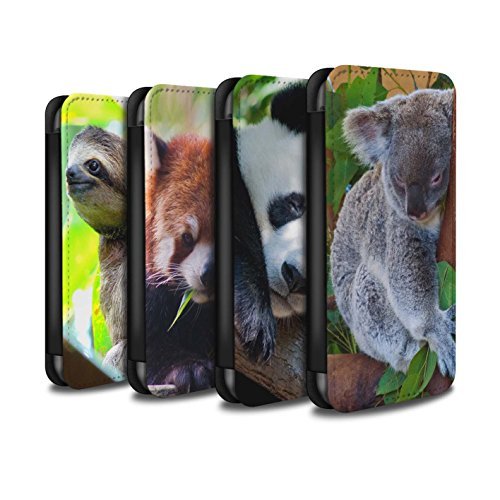Stuff4 Coque/Etui/Housse Cuir PU Case/Cover pour Apple iPhone 4/4S / Loup Design / Animaux sauvages Collection Multipack Ours