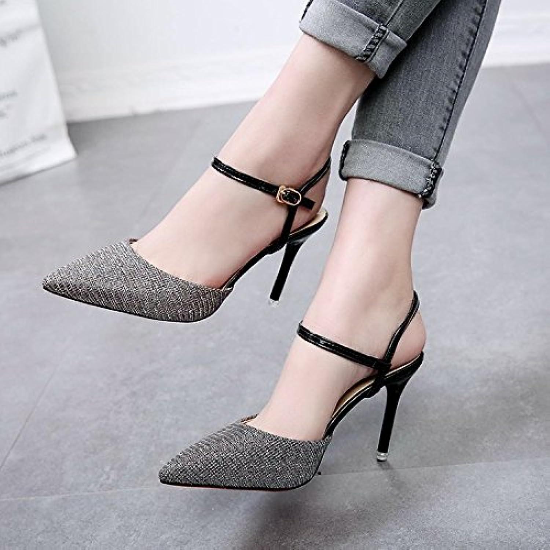 Las mujeres sexy moda High-Heeled Sandals fina con punta, Gun-Color Hasp ranurado 35