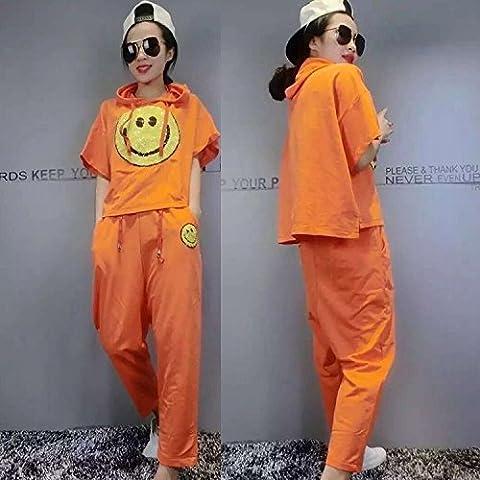KTK Purpurina suelta sonriente cara algodón ocio verano ocio deportes camiseta damas dos pedazo juegos , orange red ,