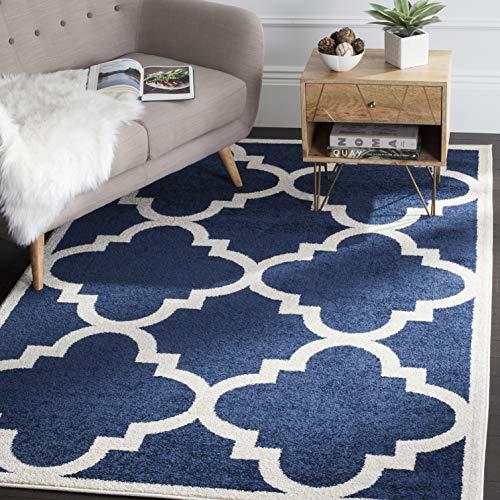 Safavieh Natia Teppich Polypropylen Polyester Blau Marin Beige 91 X 152 X 0 635 Cm