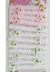 12 Bandeaux Blanc Rose serre tête Bébé Fille Tendance 2 Coloris Cheveux