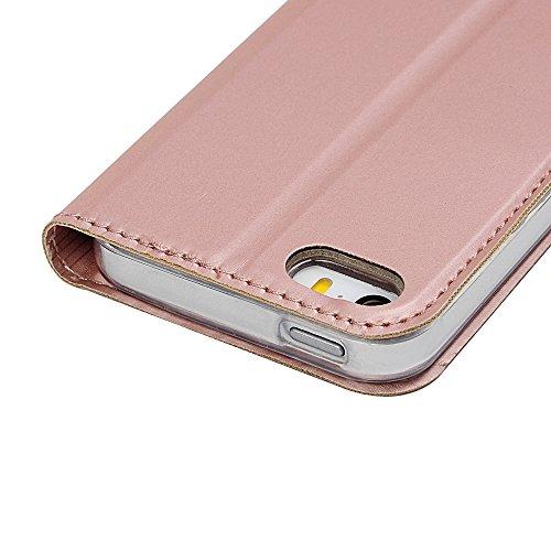 MAXFE.CO Lederhülle Case Schutz für iPhone 5 SE PU + TPU Innere Etui Schale Backcover Automatische Adsorption Flip Cover mit Kartenfach Magnetverschluß Standfunktion Rose Gold Rose Gold