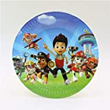 Balloonistics Paws Printed Round Disposable Cake Plates for Patrol Theme Birthday Parties 7 inches - Pack of 20