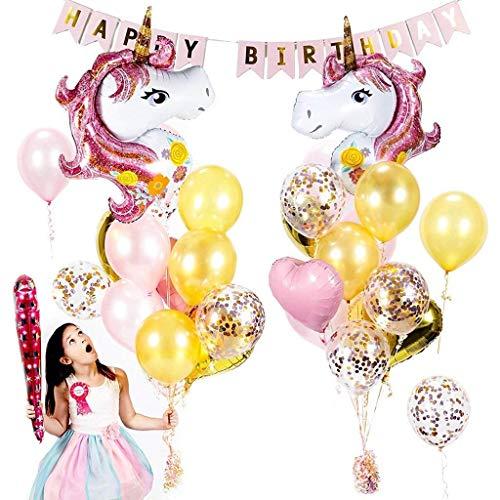 Conjunto de globos de unicornio de 28 paquetes,Tumao suministros de fiesta de unicornios de color rosa Confeti de oro rosa y globos de corazones para fiestas de cumpleaños de niñas Preciosas