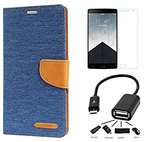 Online Street Premium Drop Protection Flip Combo For HTC Desire 526- (Matte Blue l Tempered l OTG)