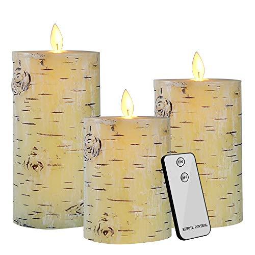 LED Kerzen, 3er Echtwachs Flammenlose Stumpenkerzen mit Timer, Realistischem Effekt Flackernden Docht und Tanzende LED Flammen, Fernbedienung, Batteriebetrieben, 300+ Stunden by Yinuo Mirror -