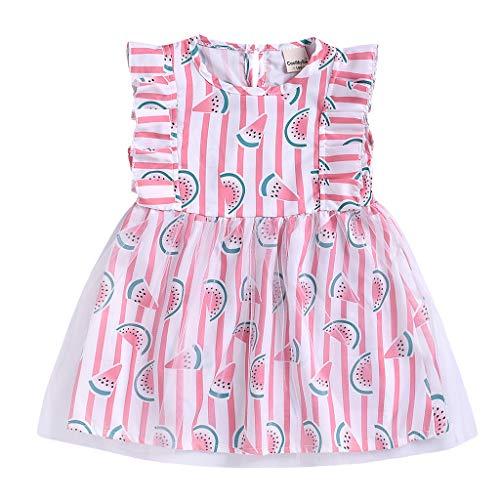 squarex  Sommer Mädchen Rüschen Kleid Kleinkind Tüll Rock Kinder Wassermelone Print Kleid Baby Prinzessin Kleid Sommerkleid Kinder ärmellos