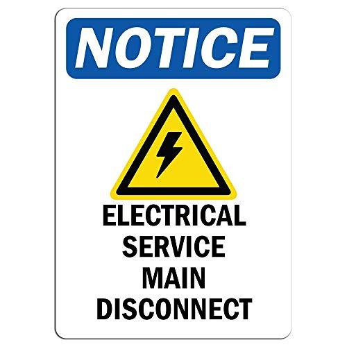WallAdorn Notice Electrical Service Main Disconnect with Symbol Warning Hazard Eisen Poster Malerei Blechschild Vintage Wall Decor für Cafe Bar Pub Home -