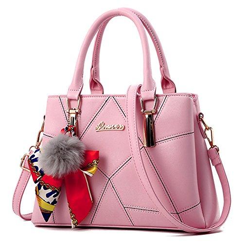 Ruiren Damen Shopper Schultertasche Paket Messenger Bag Damen Handtasche Rosa