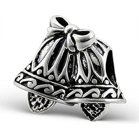 Silvadore–Ciondolo in argento 2Campanelli Natale Matrimoni fiocco Duo–Coppia design 925sterling Ciondolo scorrevole in 3d 660, adatto per bracciale Pandora europeo, in confezione regalo - Wedding Bells Charm