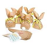 10 Stück braune natürlich lustige Osterhasen Hasen Papiertüten + gelbem Baumwollband – Alternative zum Osternest f. Kinder + Erwachsene give-away Mitgebsel Verpackung Geschenke zu Ostern