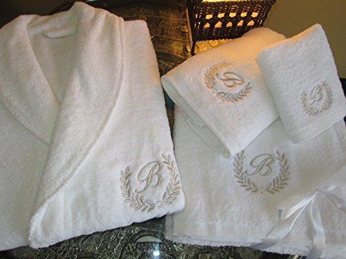 Set composto da accappatoio e teli da bagno con scritta personalizzata oro/argento, edizione hotel 5 stelle., 100% cotone, embroidery silver, bathrobe s