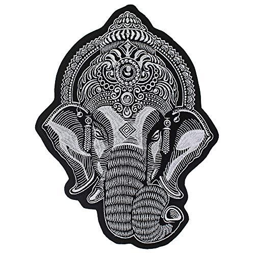 Großer Ganesha-Elefantenkopf-Stickerei-Flicken zum Aufbügeln auf Jacke, Biker, Scrapbooking, 1 Stück weiß - Perlen-3 Stück-hose