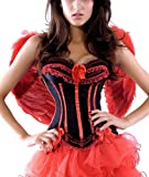 R-Dessous Damen Kostüm Corsage + Flügel + Rock Tutu Halloween roter Engel bad red angel Fee Groesse: L