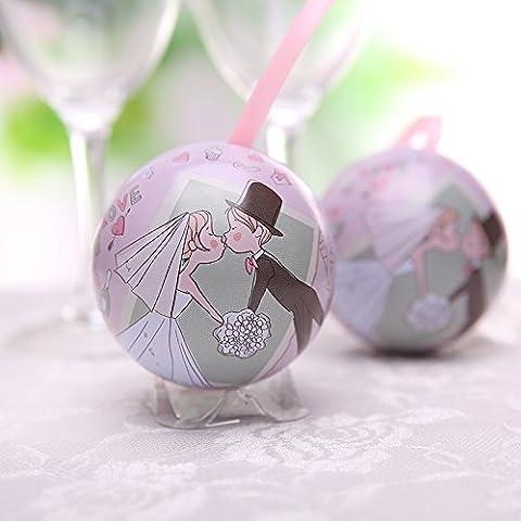 XHDWNBM 20 Pcs Continental matrimonio zucchero sfera cartuccia amore frutto di banda stagnata di nozze Hi Contenitore zucchero arti creative e culturali la nostalgia per la Wedding-Hi cartuccia di zucchero di Natale scatola regalo , piccoli (diametro 6,8 cm), dolci momenti (2000 soltanto)