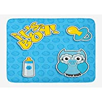 St574ony Bath Rug Gender Reveal Bath Mat, Baby Owl With Pacifier And Bottle Its A Boy Typography, Plush Bathroom Decor Mat, 16x 24 Inches, Baby Blue Sky Blue And Mustard