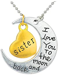Peora Love You to The Moon and Back Special Gold Heart Pendant Necklace in Metal Sister for Women