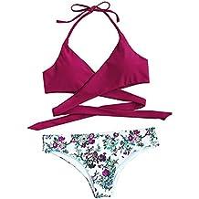 ROMWE Damen Neckholder Bikini Set Push up Triangel Bikinis