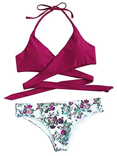 ROMWE Damen Neckholder Bikini Set Push Up Triangel Bikinis Purpurrot M
