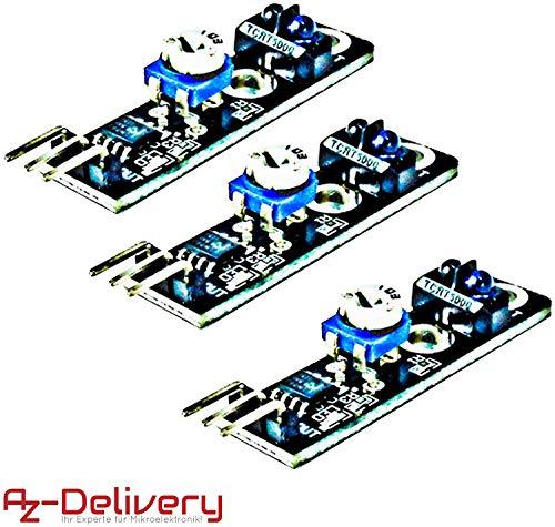 AZDelivery 3 x KY-033 Modulo de evitación de obstáculos con seguidor de líneas infrarrojas TCRT5000 para Arduino con eBook incluido