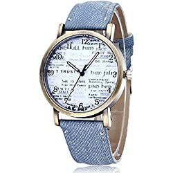 Souarts Denim Blue Strap Artificial Leather Quartz Wrist Watch