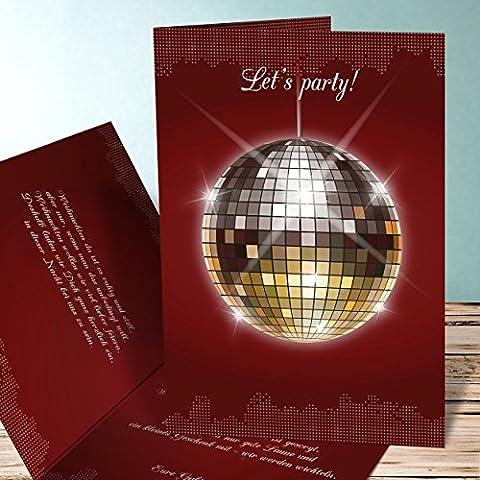 Einladungskarten Weihnachtsfeier, Discokugel 130 Karten, Vertikale Klappkarte 105x148 inkl. weiße Umschläge, Rot