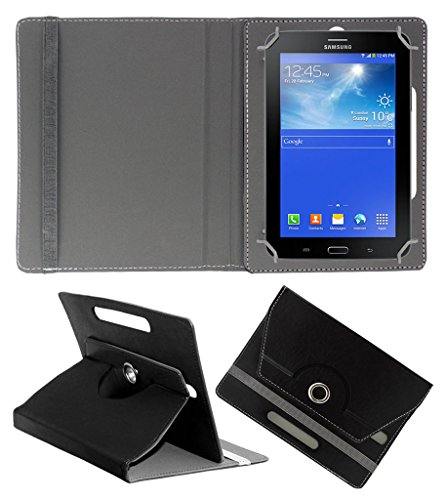 Acm Rotating 360° Leather Flip Case For Samsung Galaxy Tab 3 T111 Neo Tablet Tablet Cover Stand Black  available at amazon for Rs.149